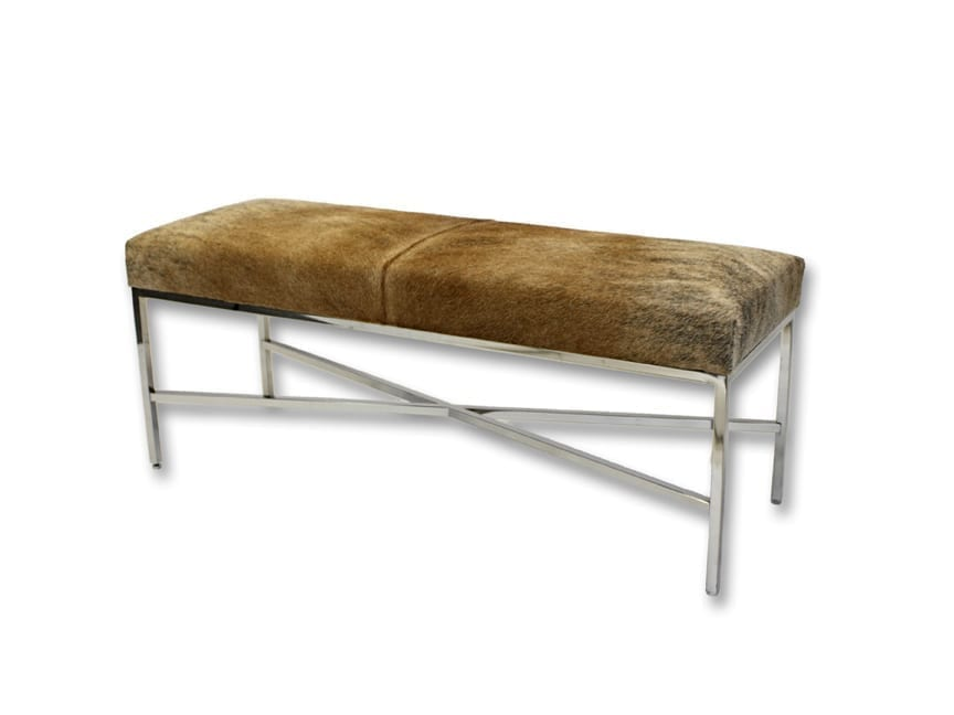 Metal Bench with Natural Cow Hide 60x16x19 - Outpost Original