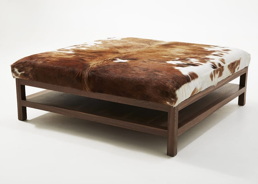 Walnut Coffee Table With Tri Colour Cow Hide 48x48