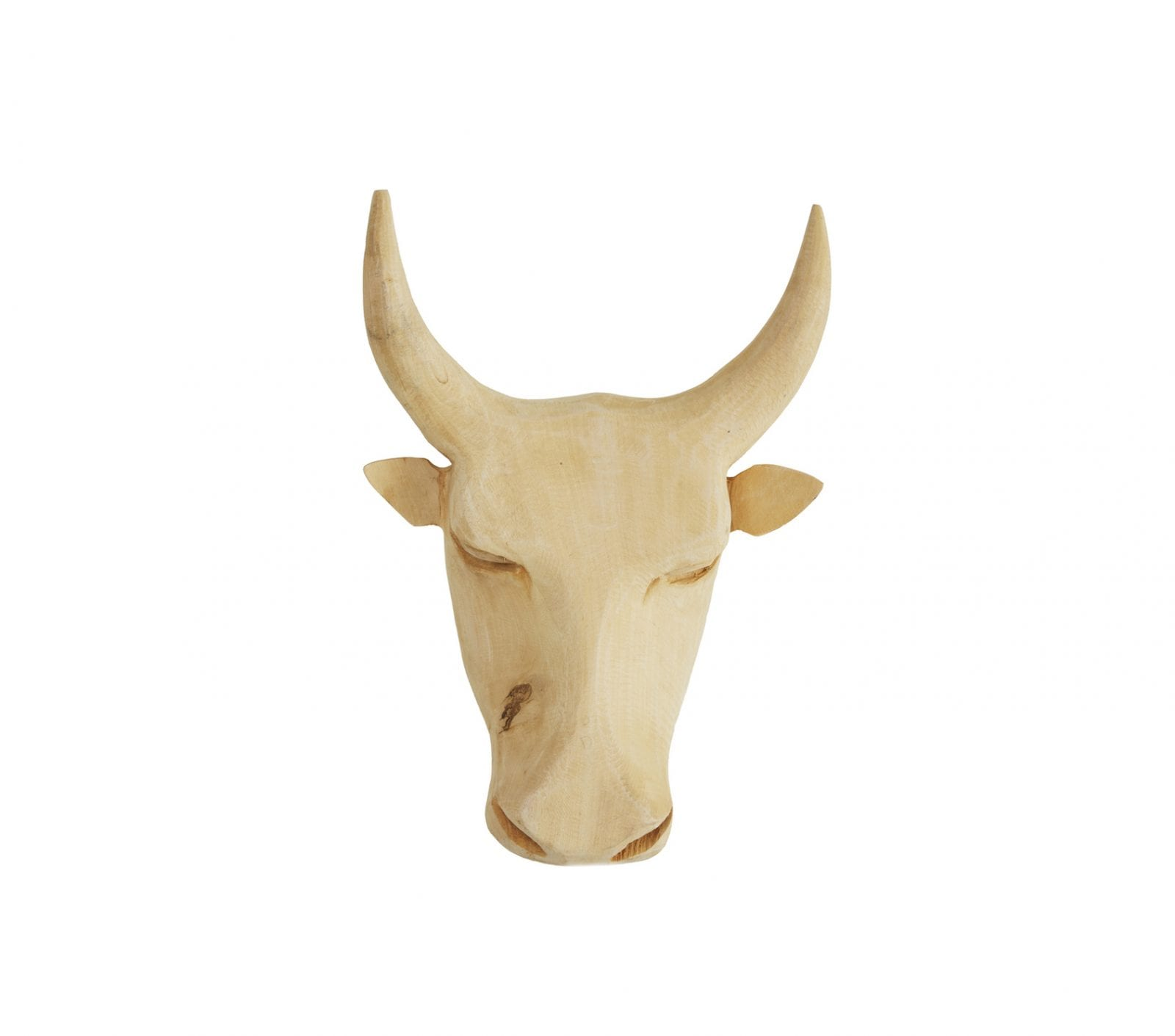 Bull Head Carving Wall Mount in Natural Wood