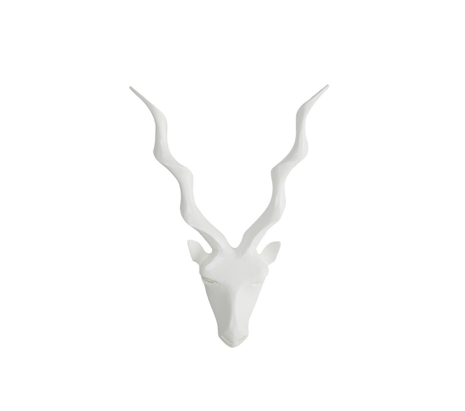 Kudu Carving Wall Mount in White